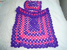 DOLLS BUGGY PRAM BLANKET AND MATCHING PILLOW SPARKLEY WOOL VERY PRETTY