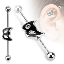 316L Surgical Steel Cat Mask Ear Cartilage Industrial Barbell Piercing 14 GA