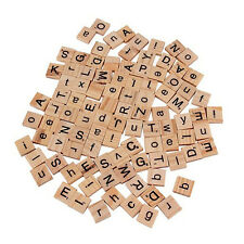 100Pc Kid Wooden Scrabble Tiles Letter Alphabet Number Craft English Words