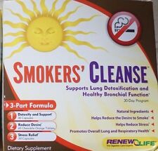 Renew Life SMOKERS CLEANSE 30 Day Program 3-Part formula Lung Detox - Exp 10/16+