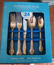 NIB International Stainless Steel 24 Pc Gold Plated Queen's Fancy Flatware GOLD