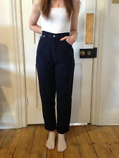 "Vintage 90s Navy Blue High Waisted Relaxed Fit Mom Jeans 8 27""W"