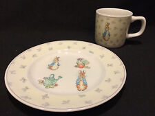 "Wedgwood Peter Rabbit Garden 7"" Plate and Cup England Frederick Warne & Co 1996"