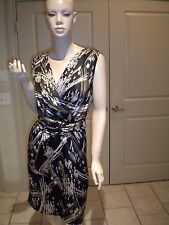 THE LIMITED BLACK GREY TAUPE PRINTED SLEEVELESS WEAR TO WORK DRESS 2