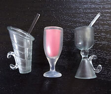 Barbie Doll Accessories Tropical Drinks Cups Clear Wine Glass Dishes Dinnerware