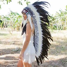 INDIAN HEADDRESS BLACK FEATHERS Chief War bonnet Costume Native American