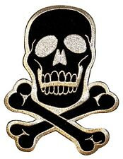 Large Skull & Crossbones Symbol Silver-Black Embroidered Iron On Applique Patch