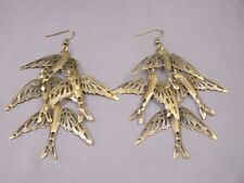 "Bronze long sparrow birds dangle earrings lightweight 4"" long"