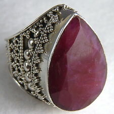 US 11 ~ Superb XL Sterling Silver ~ SILVERSARI Granulation Ring ~ INDIAN RUBY