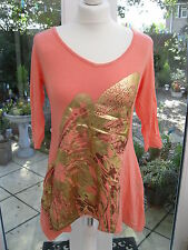 Antthony Designs 3/4 Sleeve Handkerchief Hem Embellished Tunic Coral XS BNWT