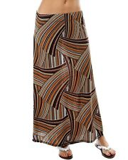 Size 10 Brown White Black Stretch Aztec Print A Line Maxi Skirt BNWOT