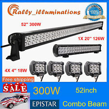 "52inch 300W LED Light Bar+20'' 126W+4X 4"" 18W CREE Led Pods SUV 4X4WD Truck Jeep"