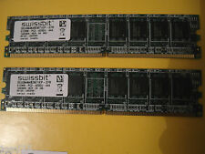lot 2 RAM Memory 512 Mega MB 1GB Giga ram PC2 4200U 444 swissbit Vintage