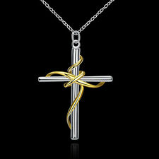 wholesale 925 Silver Necklace Gold Cross Charm women Jewelry Christmas gift