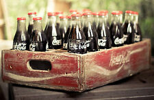 Large Framed Print - Vintage Coca Cola Bottles in an Old Wooden Crate (Coke Art)
