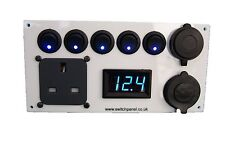 12V/240V White Switch Panel Voltmeter USB Cigarette Socket Vito VW T5 T4 Transit