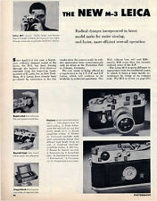 New Leica M-3 Product Review 1954 + 2 Page Leica M-3 Advertisement: Original