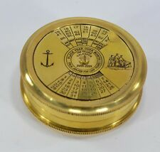 Antique Vintage Brass 100 Years Calender Pocket Compass With Robert Frost Poem
