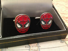 SPIDER MAN CUFF LINKS SILVER IN BOX COLLECTABLE BNIB SUPER HERO