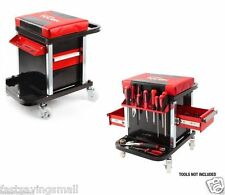 Rolling Seat Tool Box Chest 2 Drawer Garage Portable Cart Storage Red NEW