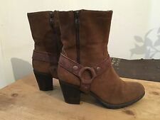 Tamaris Women's Brown Suede Round Toe Block Heel Ankle Boots UK 4 EU 37
