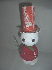 Snowman Candy Container, Paper Mache, Flocking, Mica, Western Germany Vintage