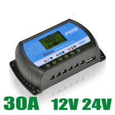 PWM 30A Solar Charge Controller 12V 24V LCD Display USB 5V Solar Panel Charge