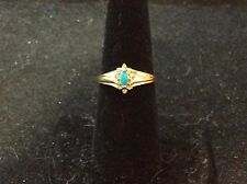 VINTAGE 14K YELLOW GOLD PERSIAN TURQUOISE WITH DIAMONDS SIZE 6.5
