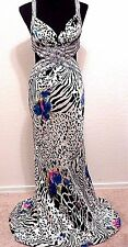LA FEMME Long Silk Plunge V-Neck Eveing Dress 4 S Beaded Cut Outs Gown