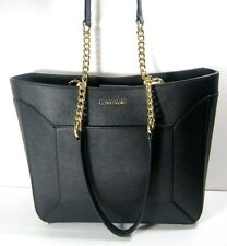 Calvin Klein Saffiano Leather Chain Tote Black Shoulder Bag H6GD15DR New