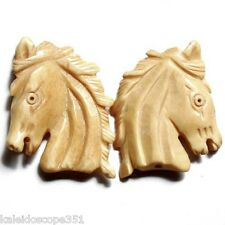 CARVED BONE HORSE HEAD BEAD LARGE 35X28MM 2 BEADS #2