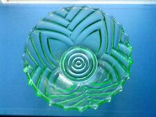Vintage Art Deco Green Glass Fruit Bowl Marked Belgique