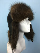 Beaver Fur Trapper Hat. Leather Top. Real Genuine Fur. Ushanka Aviator Hat.