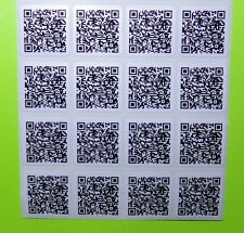 "100 CUSTOM QR CODE STICKER SYNTHETIC POLYESTER LABELS 1""x 1"" Square ERMA755404"