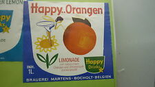 OLD BELGIAN SOFT DRINK CORDIAL LABEL, MARTENS BREWERY, HAPPY ORANGE