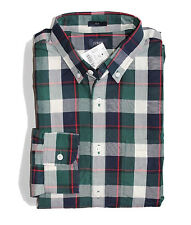 J Crew Factory - Mens S - Slim Fit - NWT - Green/Blue Plaid Washed Cotton Shirt