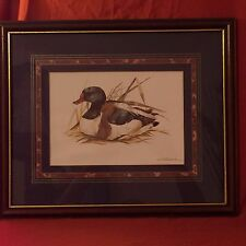 Joel Kirk  Wooden Framed Vintage and Signed Duck Print  Gold Trim