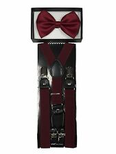 Adults Uni-sex Formal Wear Accessories Burgendy Bow Tie & 4 Clips Suspender