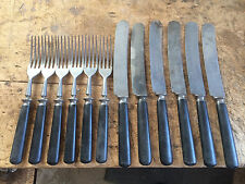 Landers Frary Clark antique black bakelite handle cutlery (6) knives (6) forks