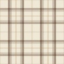 New Cambridge Plaid  Check Tartan - Chocolate / Cream / Gold - Wallpaper FD40538