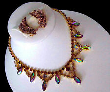 Vintage Hobe Alexandrite Amethyst Purple AB Rhinestone Bib Necklace & Earrings