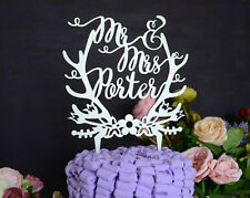 Personalized Wedding Cake Topper Made of Wood and Painted in Metallic Silver 116