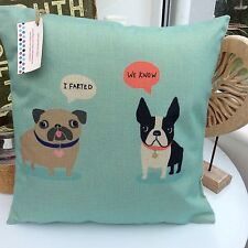 CUSHION COVER DUCK EGG BLUE FABRIC FRENCH BULLDOG PUG NOVELTY BOYS PET  TAUPE K.