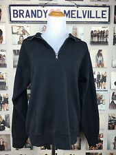 New! Brandy Melville FLEECE LINED Black Polo Collar Zip Up Pullover Sweater NWT