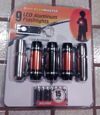 Superex Beam master 9 LED  aluminum flashlights 5pk w/Bonus LED Keychain light