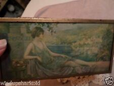 Vintage Lady Jewelry Box Wood with Metal Framing.  Nice!