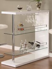 Bar Table with Two Glass Shelves in Gloss White Finish by Coaster 100167