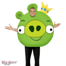 """FANCY DRESS COSTUME # ADULT GAMING CARTOON ANGRY BIRDS PIG GREEN MED 38""""-40"""""""