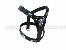 STAFFORDSHIRE BULL TERRIER BLACK LEATHER DOG HARNESS STAFF STAFFIE STAFFY CHROME