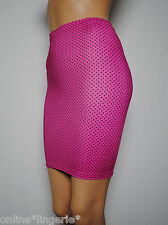 SIZE 4-6 PINK BLACK POLKA DOT LYCRA PENCIL PIN UP SKIRT MINI TIGHT BODYCON W628
